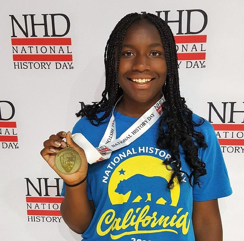 """Baldwin Park High School freshman Silence Jackson earned the Outstanding in State Award for the junior division at the National History Day Competition for her documentary """"Rebuild this Wall: The Truths of a Triumph Turned Tragic on Black Wall Street."""""""