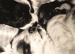 drawing of a black and white puppies nuzzling