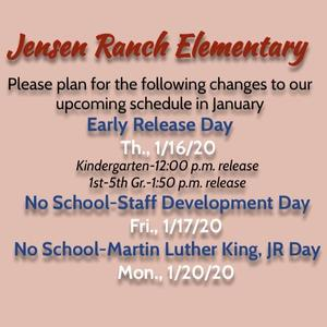 January Schedule Changes
