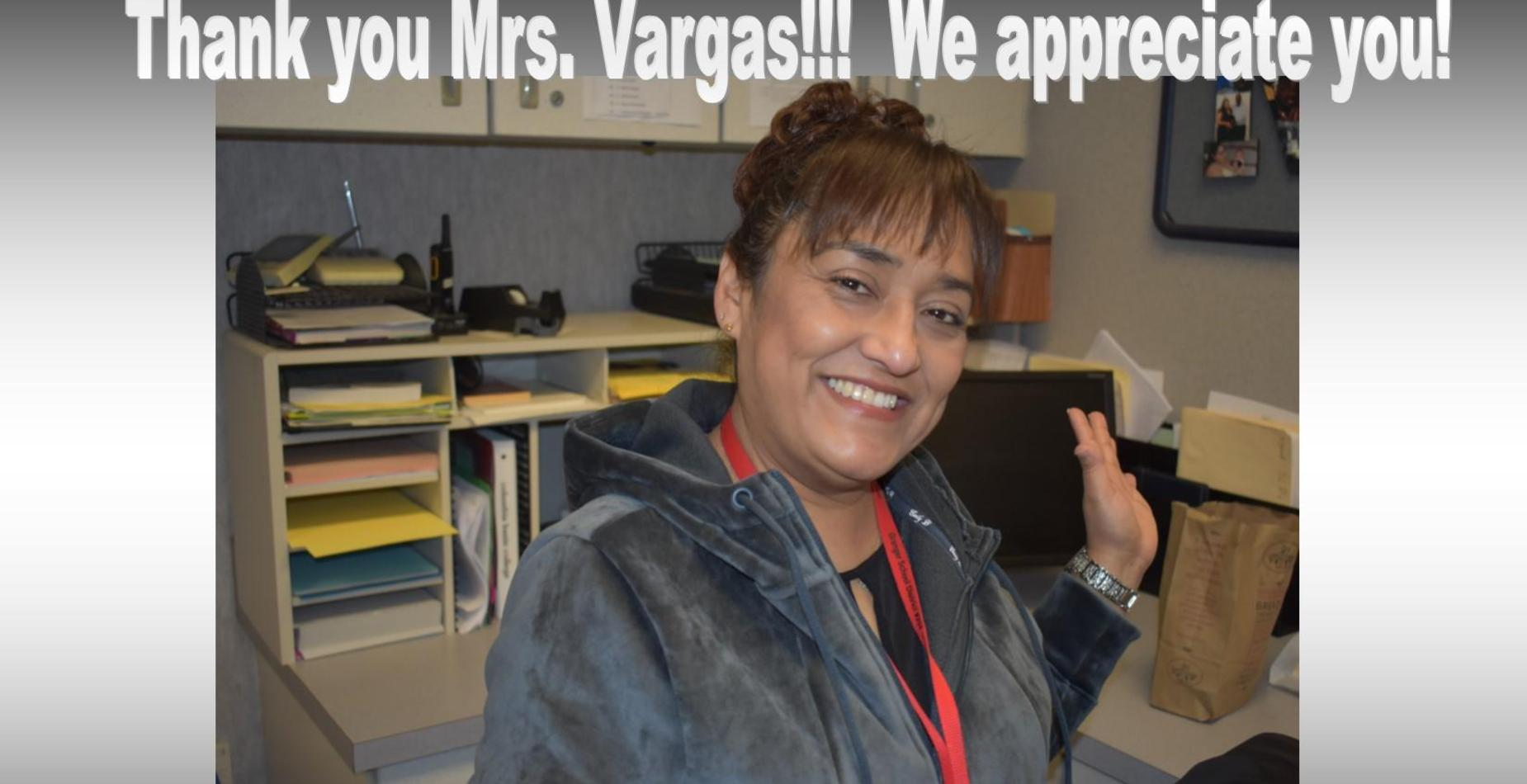 A picture of our counselor, Mrs. Vargas.  It says,