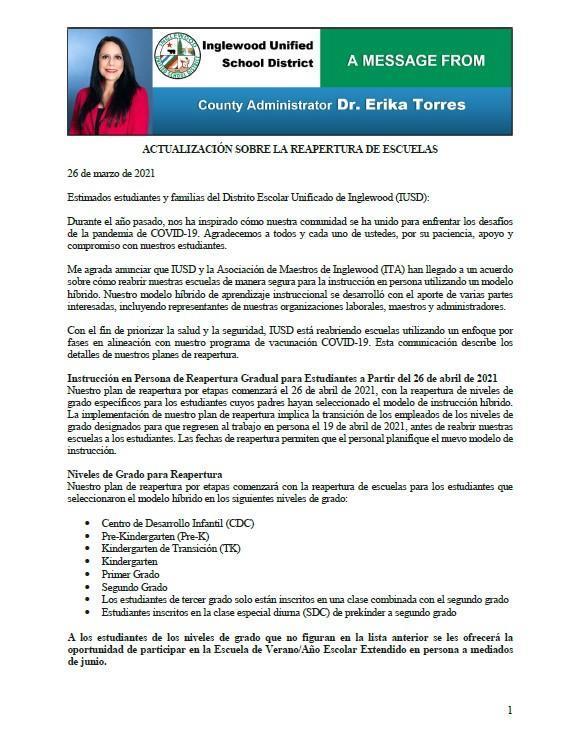 IUSD Información Sobre la Reapertura de Nuestras Escuelas - 3-26-21 Featured Photo