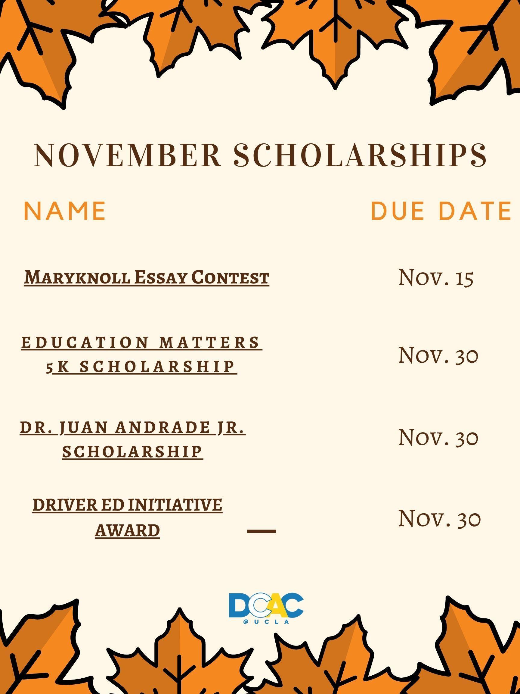 november scholarships