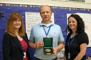 Roosevelt Intermediate School teacher Matthew Kalafat is the recipient of a Carnegie Medal for heroism.  Kalafat is pictured here with Superintendent Dr. Margaret Dolan and RIS principal Mary Asfendis.