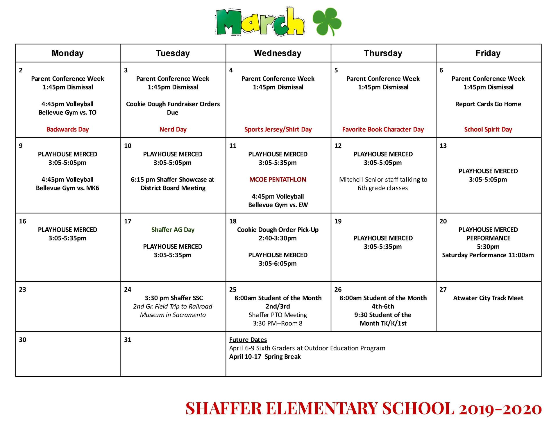 March Calendar-English