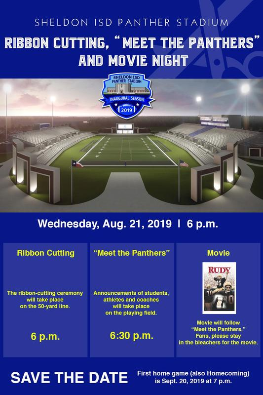 Sheldon ISD Panther Stadium Ribbon Cutting Event Flyer for Aug. 21