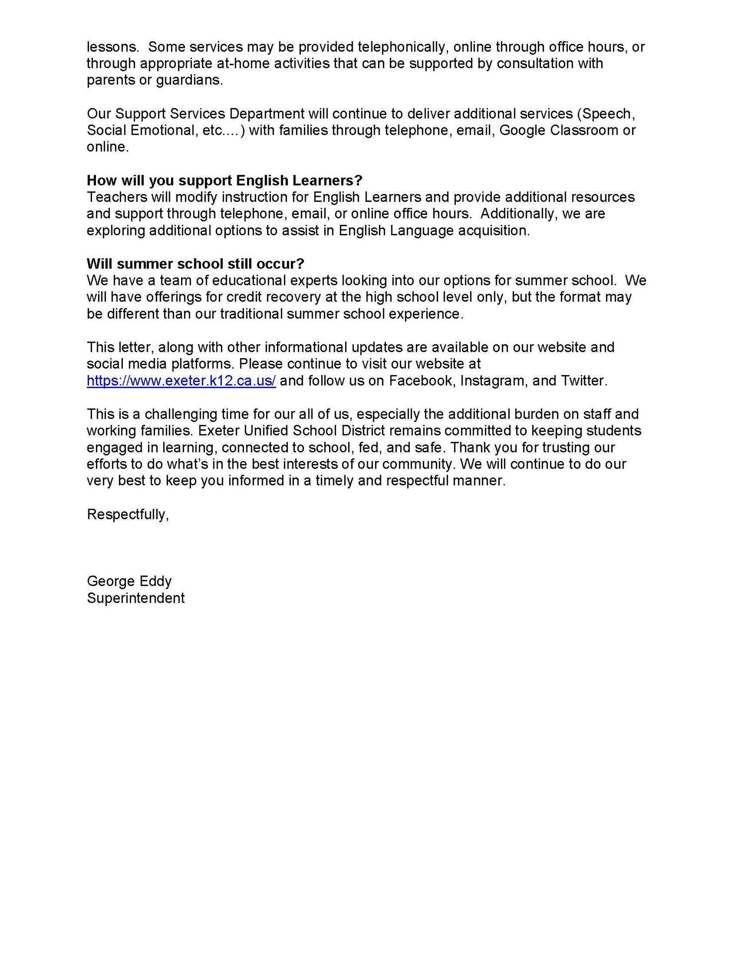 EUSD Superintendent's Community Letter- English page 3