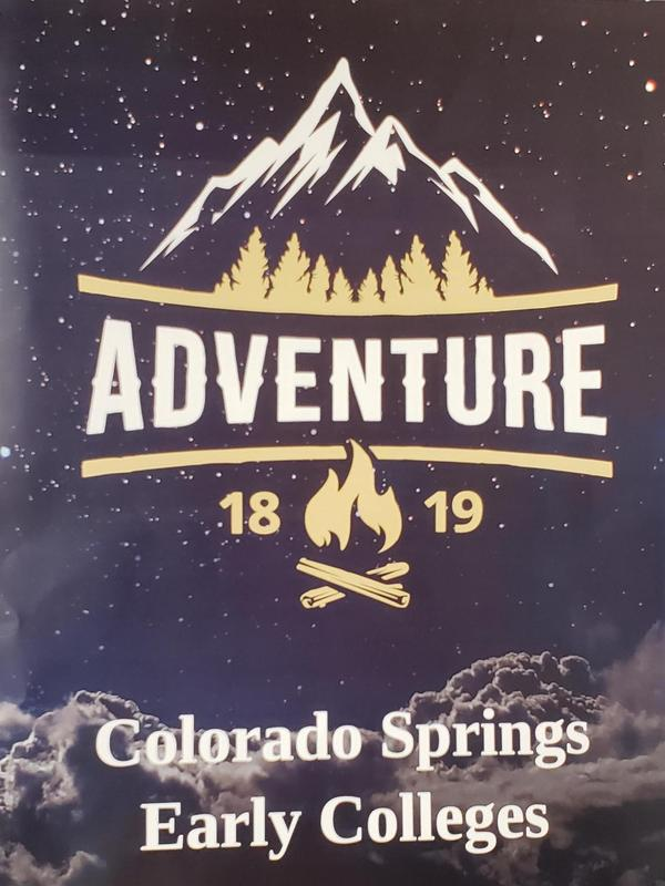 Copy of the Yearbook cover.  Title says Adventure 18-19 Colorado Springs Early Colleges with a mountain background.