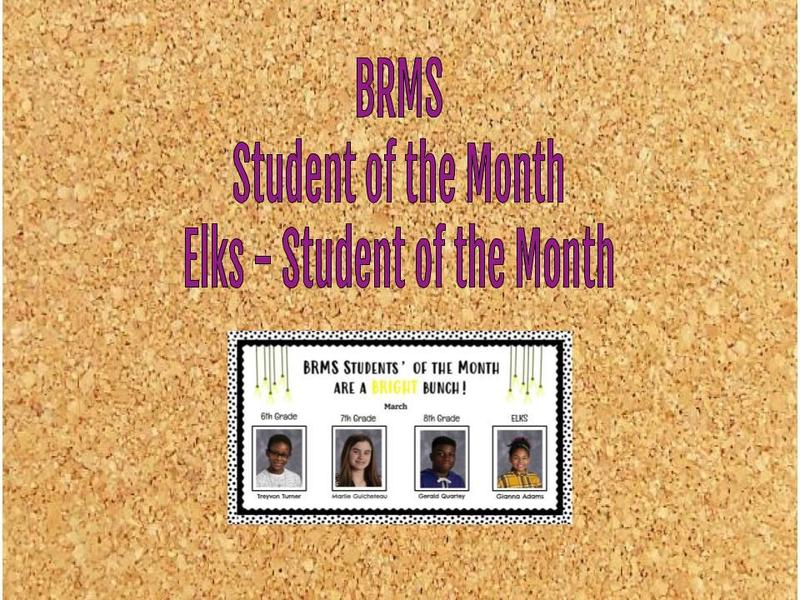 BRMS Digital Bulletin Board - March - Students of the Month Featured Photo