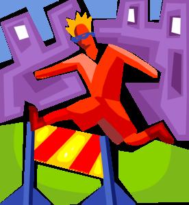 colorful hurdles and runner