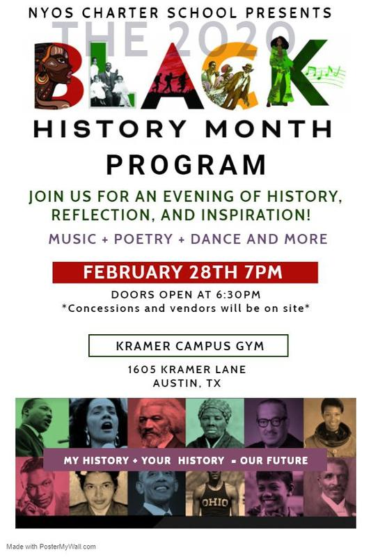 Flyer for Black History Month Celebration showing notable Black individuals throughout history.