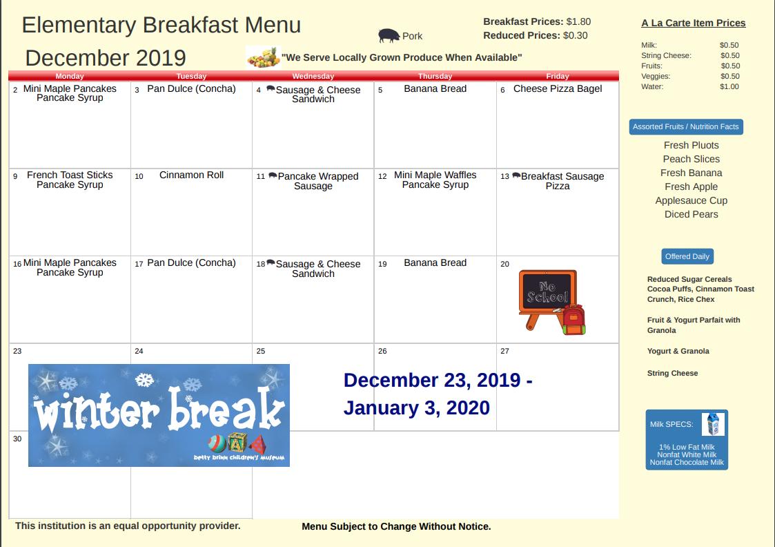 December Breakfast Menu