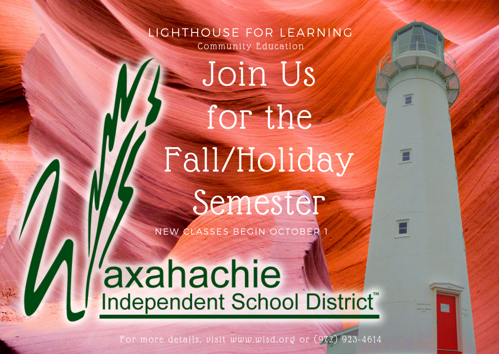 graphic with a lighthouse describing Lighthouse for Learning classes begin on October 1