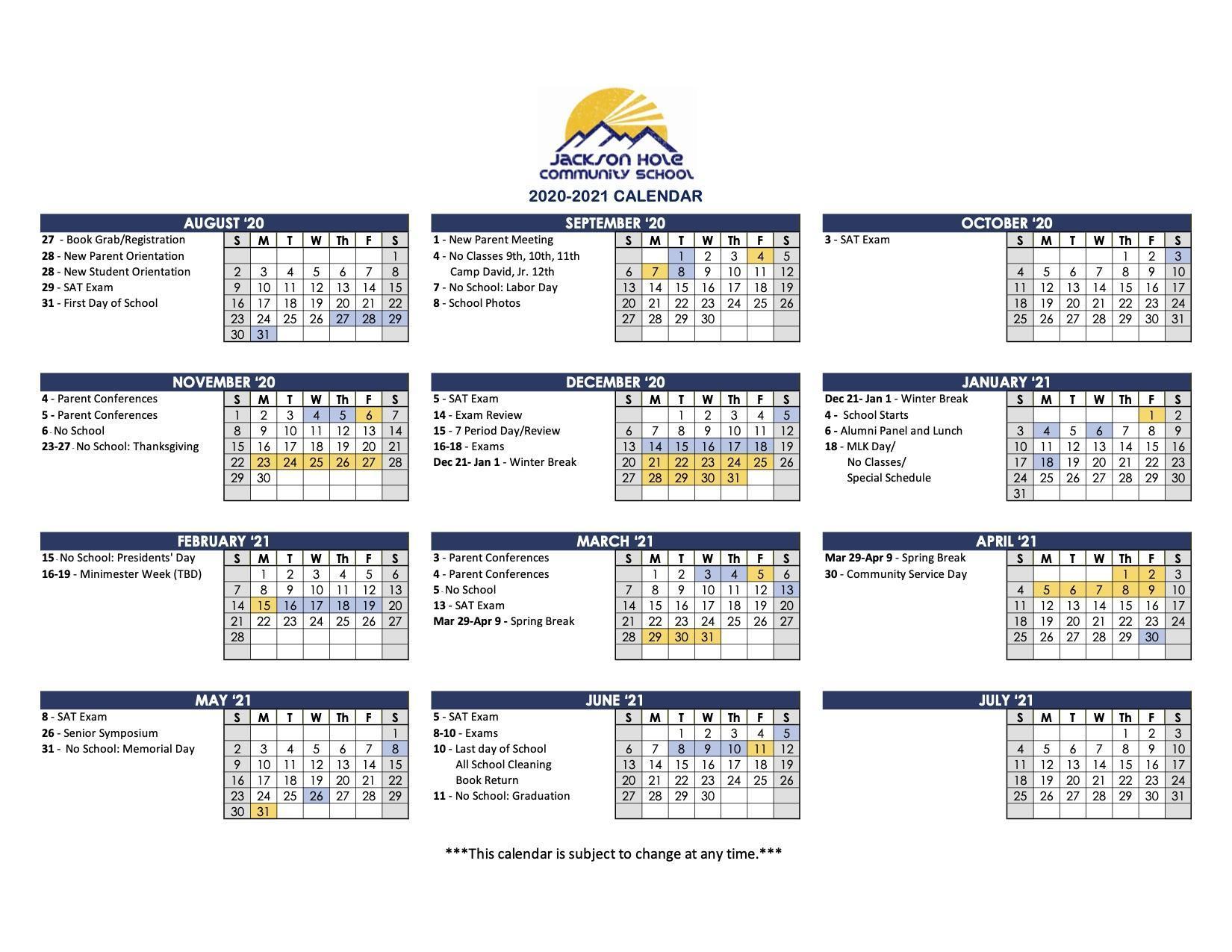 2020-2021 parent calendar