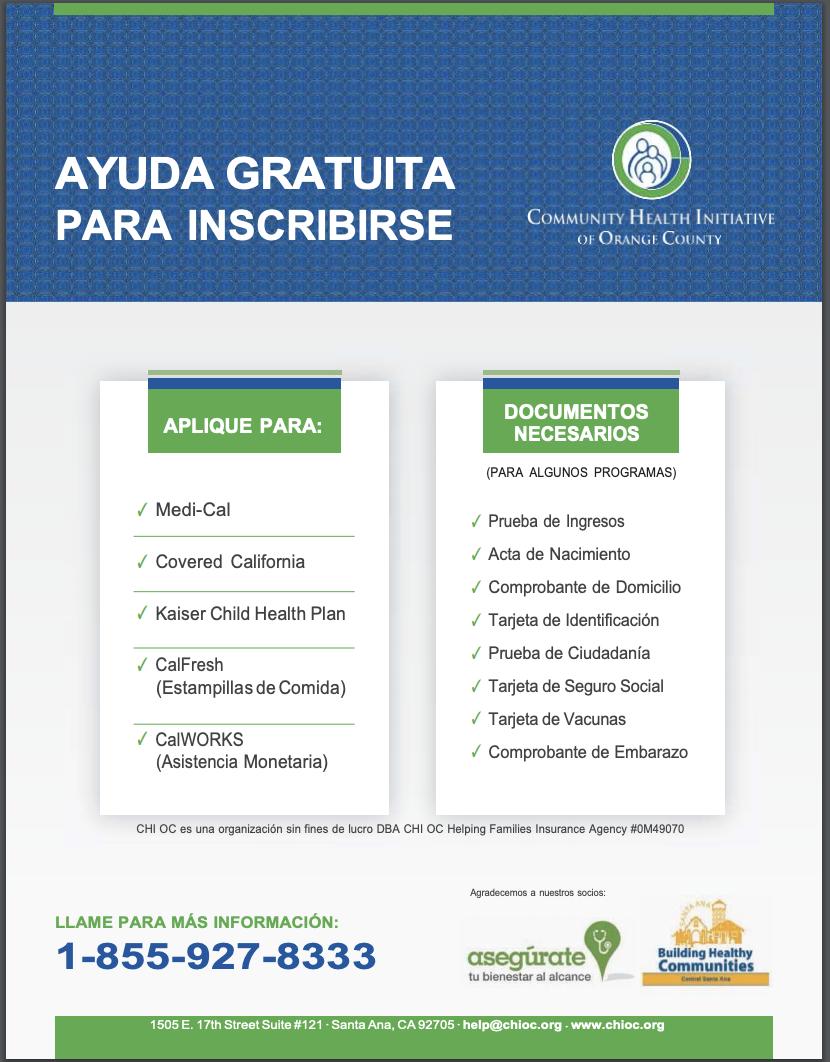 Community Health Initiative Flyer - Spanish