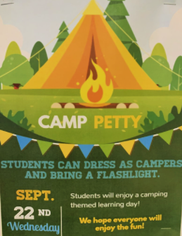 A camping-themed learning day is planned for Wednesday, September 22nd at Woodroe Petty Elementary. Featured Photo