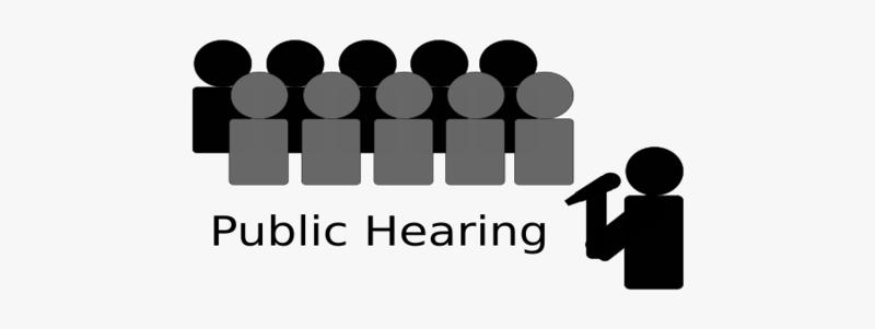 public hearing, figures talking