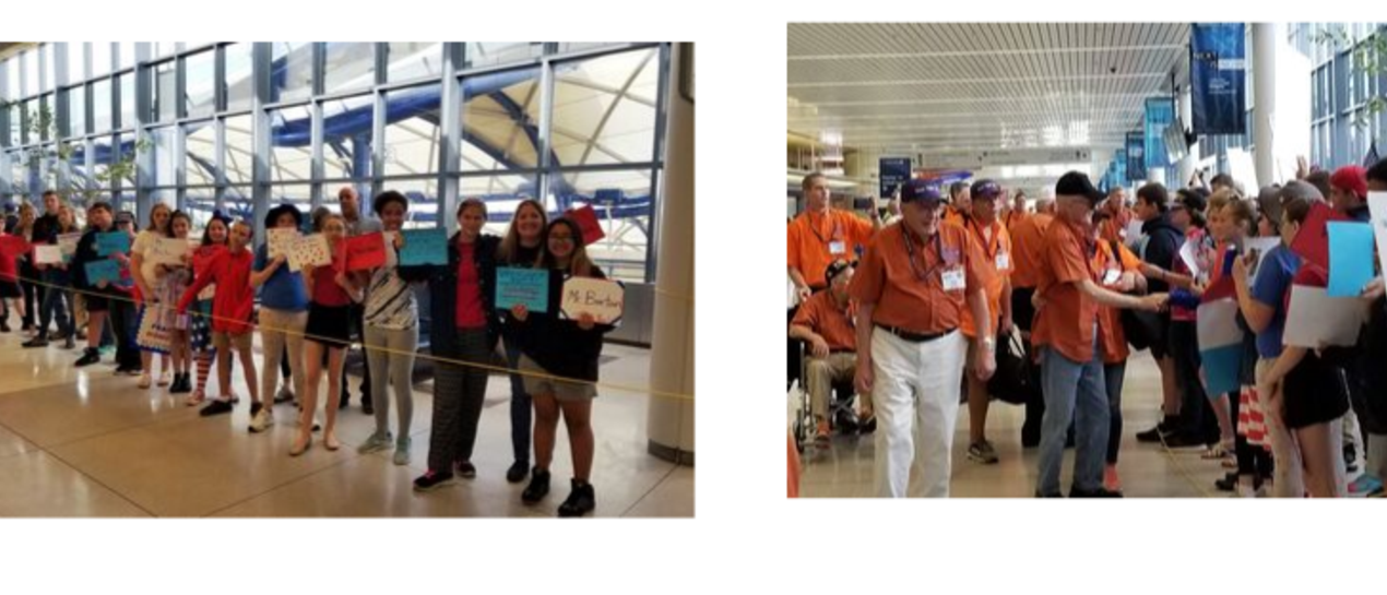 pictures of our students welcoming veterans at the airport