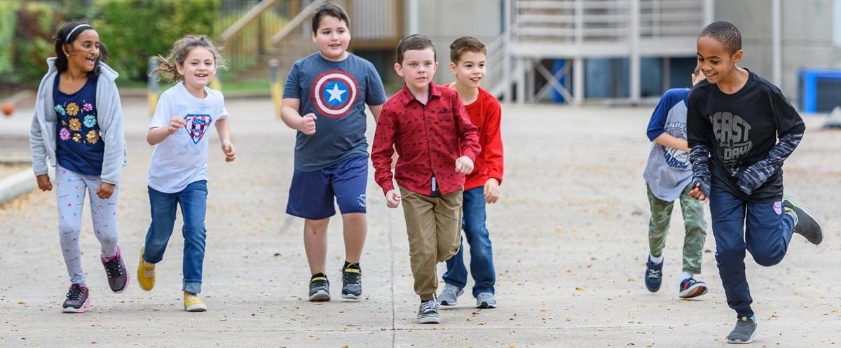 Elementary Students Walking