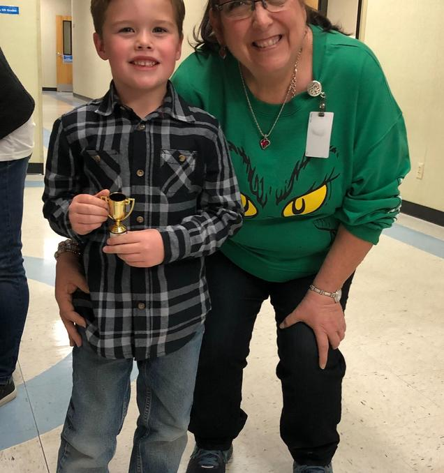 Our first Gold Trophy Rainbow Word recipient in Kindergarten for 2019!