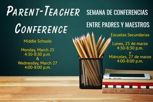 Info on Parent Teacher Conf at Middle Schools