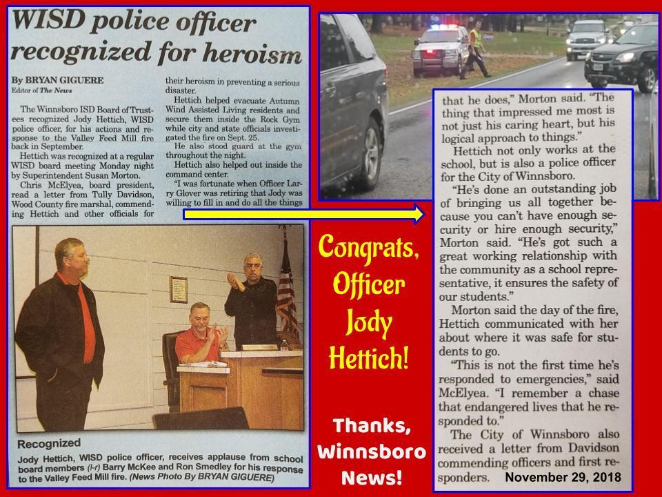 WISD Officer Jody Hettich - 2018
